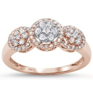 rose gold 14k diamond ring